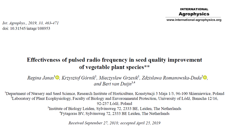 Promising results in application of Pulsed Radio Frequency on seed quality improvement
